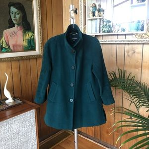 Gorgeous Ellen Tracy Green High Collar Wool Coat